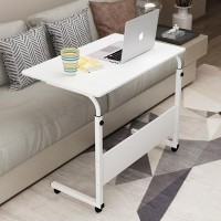 Height Adjustable Portable Tyre Base Laptop Table - White