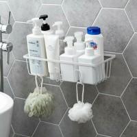 Hooked Easy Installation Wall Adhesive Bathroom Racks - White