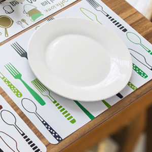 Cutlery Printed Dining Table Protector Mat - Green