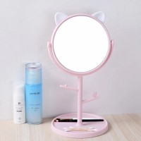 Foldable Cat Shaped Carved Table Mirror - Pink