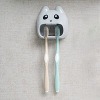 Fancy Open Cat Mouth Bathroom Tooth Brush Holder Rack - Gray