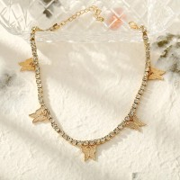 Crystal Decorative Dangle Butterfly Fashion Women Necklace - Golden