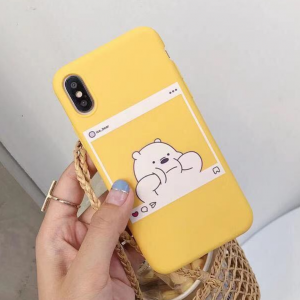 Highly Protective Cute Bear Printed iPhone Series Case Cover - Yellow
