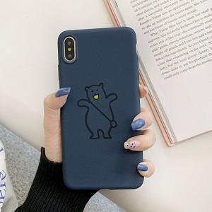 Anti Damage Bear Printed Design iPhone Series Case Cover - Dark Blue