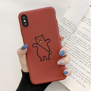 Anti Damage Bear Printed Design iPhone Series Case Cover - Red