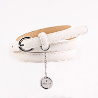 Circle Pendant Decorated Ladies Jeans Belt - White