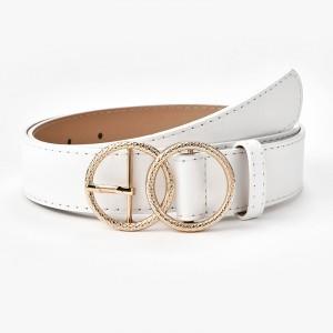 Ladies Retro Belt With Double Loop Buckle - White