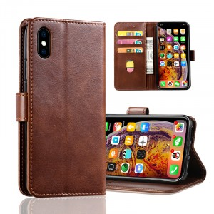 Leather Texture PU Foldable Iphone Series Protector Case Cover - Brown