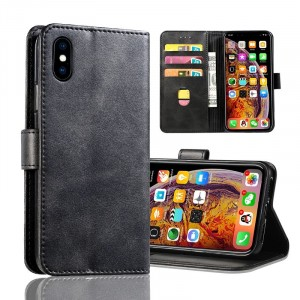 Leather Texture PU Foldable Iphone Series Protector Case Cover - Black