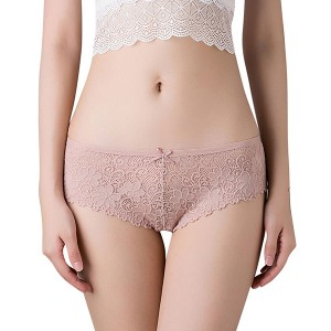 Laced Floral Textured French Cut Sexy Panty Underwear - Pink