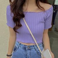 Ribbed Off Shoulder Short Sleeves Mini Tops - Purple