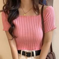 Ribbed Off Shoulder Short Sleeves Mini Tops - Pink