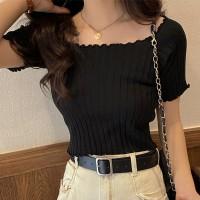 Ribbed Off Shoulder Short Sleeves Mini Tops - Black