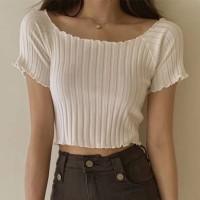 Ribbed Off Shoulder Short Sleeves Mini Tops - White