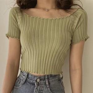 Ribbed Off Shoulder Short Sleeves Mini Tops - Green