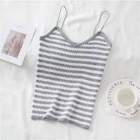 Striped Spaghetti Strapped Women Fashion Tops - Gray