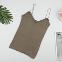 Spaghetti Strap Ribbed Sexy Wear Tops -Light Brown