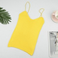 Spaghetti Strap Ribbed Sexy Wear Tops - Yellow