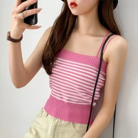 Spaghetti Strapped Ribbed Body Fitted Women Fashion Tops - Rose Pink