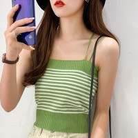 Spaghetti Strapped Ribbed Body Fitted Women Fashion Tops - Green