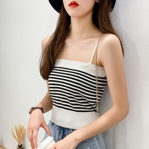 Spaghetti Strapped Ribbed Body Fitted Women Fashion Tops - White
