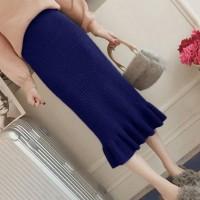 Ribbed Frilled Hem Women Fashion Skirt - Dark Blue