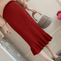Ribbed Frilled Hem Women Fashion Skirt - Red