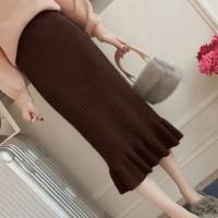 Ribbed Frilled Hem Women Fashion Skirt - Brown
