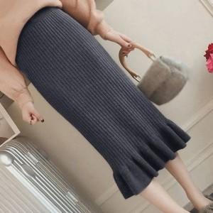 Ribbed Frilled Hem Women Fashion Skirt - Gray