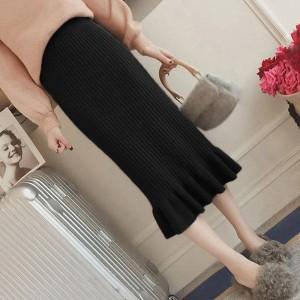 Ribbed Frilled Hem Women Fashion Skirt - Black