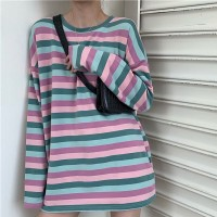 Round Neck Striped Printed Loose Top - Purple
