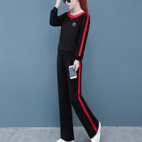 Round Neck Contrast Two Pieces Sports Wear Jumper Suit - Black