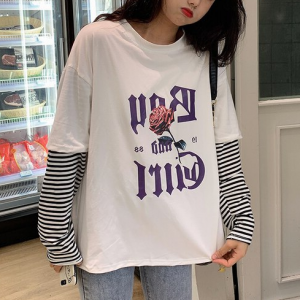 Alphabetic Printed Round Neck Loose Full Sleeves Top - White