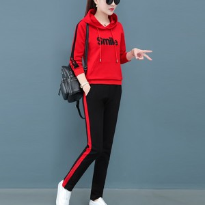 Contrast Alphabetic Printed Hoodie Style Sports Wear Suit - Red