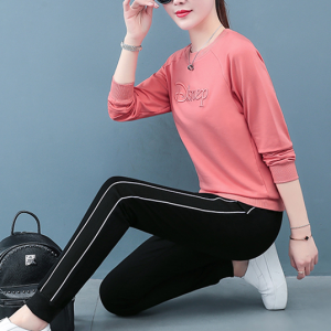 Round Neck Thread Alphabetic Art Two Pieces Sports Wear Suit - Pink