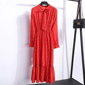 Knotted Waist Elastic Women Fashion Summer Midi Dress - Red