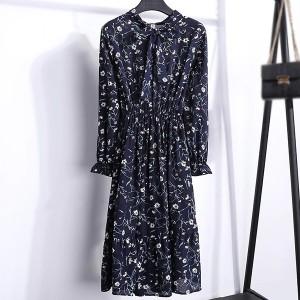 Knotted Waist Elastic Women Fashion Summer Midi Dress - Blue White