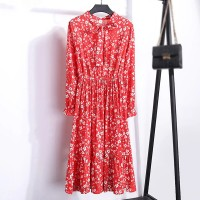 Knotted Waist Elastic Women Fashion Summer Midi Dress - Red White