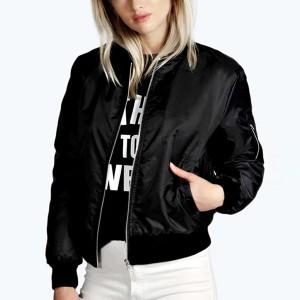 Zipper Closure Long Sleeves Nylon Winter Special Casual Outwear Jacket - Black