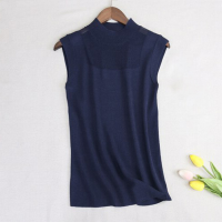O Neck Thin Fabric Outwear Sleeveless Blouse Top - Dark Blue