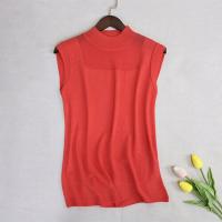 O Neck Thin Fabric Outwear Sleeveless Blouse Top - Orange