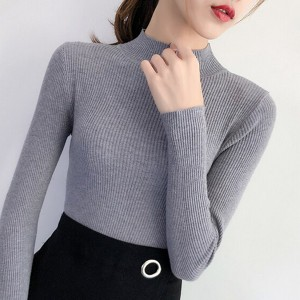 Body Fitted Ribbed O Neck Winter Tops - Gray