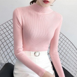 Body Fitted Ribbed O Neck Winter Tops - Pink