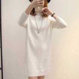 O Neck Full Sleeves Winter Wear Mini Dress - White