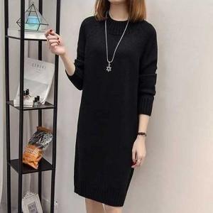O Neck Full Sleeves Winter Wear Mini Dress - Black