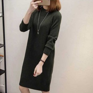 O Neck Full Sleeves Winter Wear Mini Dress - Green