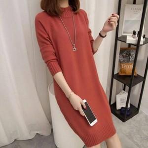 O Neck Full Sleeves Winter Wear Mini Dress - Brown