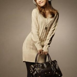 V Neck Full Sleeves Textured Winter Wear Mini Dress - Apricot