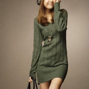 V Neck Full Sleeves Textured Winter Wear Mini Dress - Green