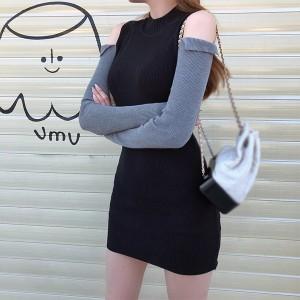Cold Shoulder O Neck Contrast Ribbed Full Sleeves Mini Dress